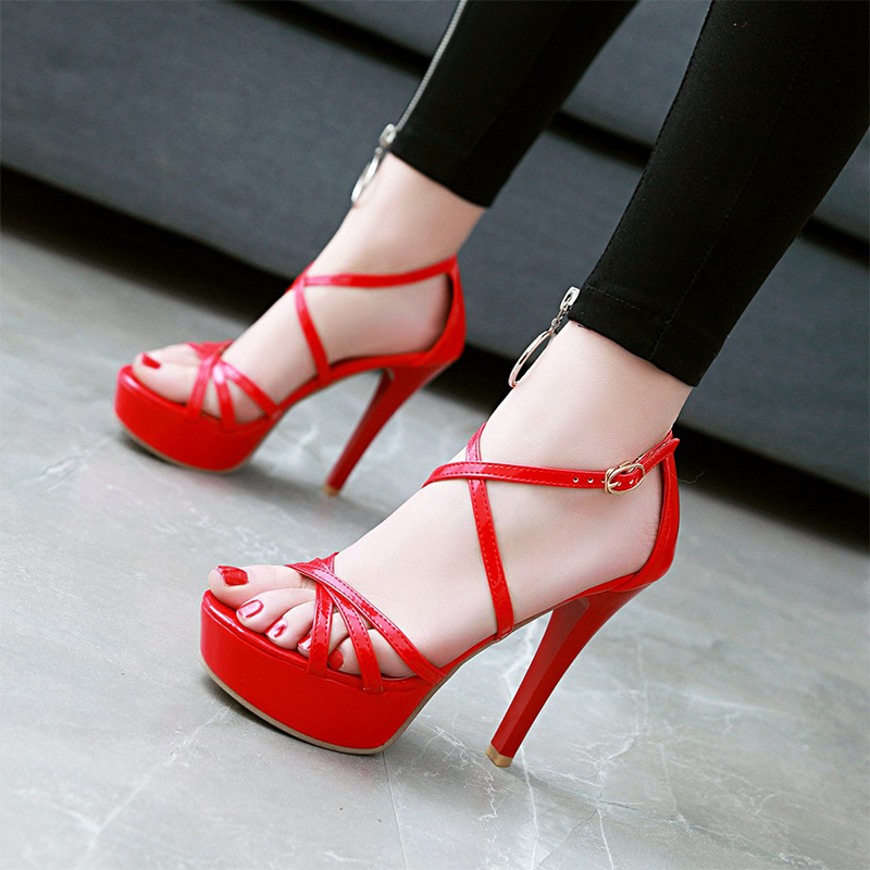 2018 New Patent Leather Women Pumps Peep Toe Summer Shoes Woman Cross-Tied Sexy Thin High-Heeled Shoes Platform Women Sandals enmayer cross tied shoes woman summer pumps plus size 35 46 sexy party wedding shoes high heels peep toe womens pumps shoe