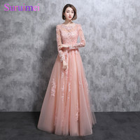 Real Photo Long Sleeves Evening Dresses High Neck Lace Applique Tulle Pearl Pink See Through Peach