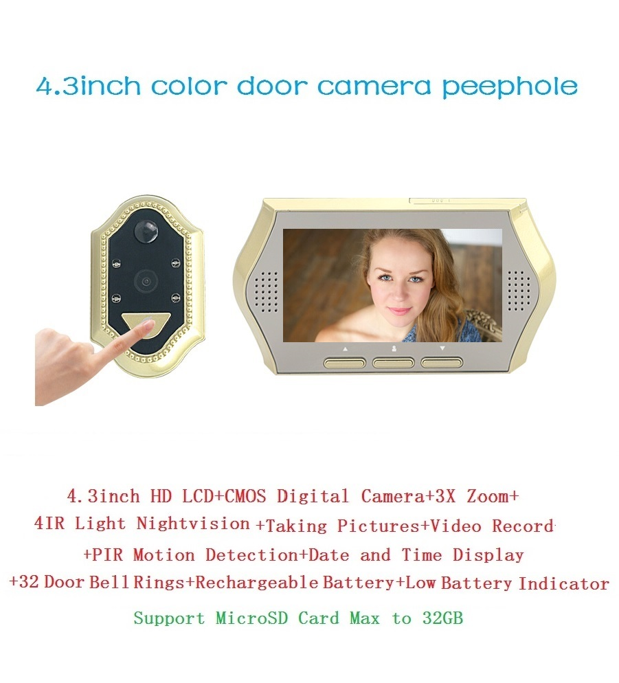 ФОТО 2017 wireless door bell 4.3 inch TFT LCD 0.3M pixels CMOS camera IR Night vision 3X Zoom 32 Rings PIR motion detection door bell