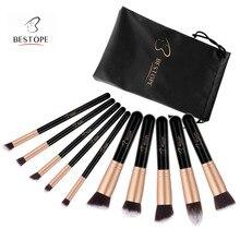 BESTOPE 10PCS Makeup Brushes Set Professional Foundation Blending Eyeliner Shadow Powder Cosmetics Brushes Tool Kit