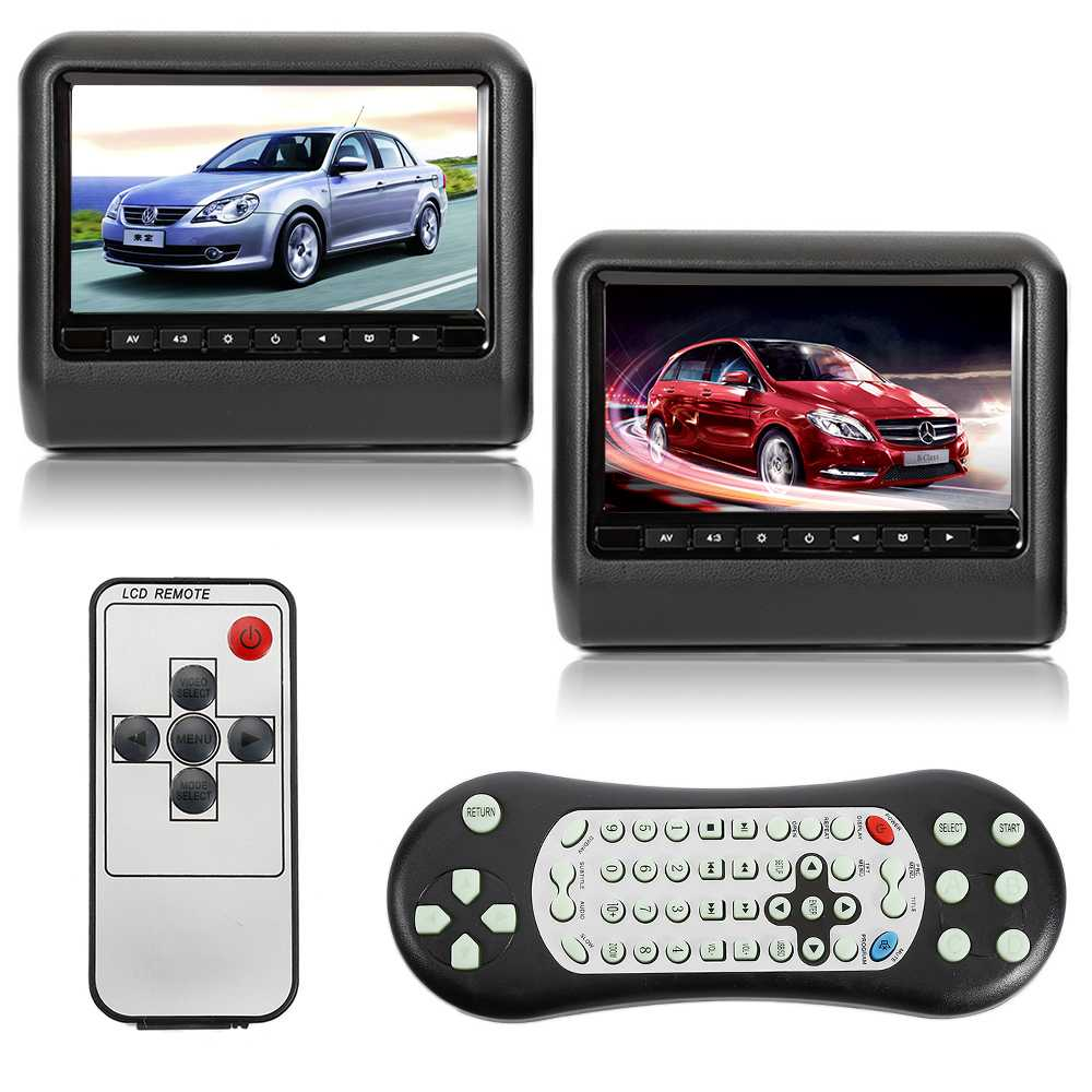 Universal Car Headrest DVD Player with HDMI 9 Inch 800 x 480 LCD Screen Backseat Monitor Built-in USB SD IR FM Speaker Game