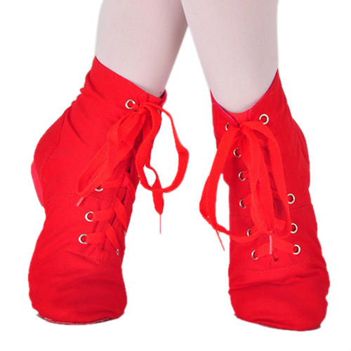 Canvas Jazz Ballet Dance Shoes Split Heels Soft Sole Red
