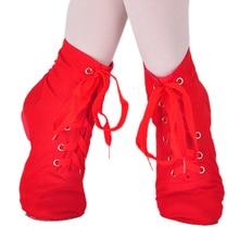 Парусиновая танцевальная обувь для джазового балета на мягкой подошве красного цвета