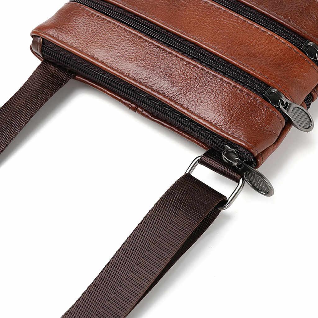 OCARDIAN Bag New Fashion Men High Quality Genuine Leather Bag Shoulder Bag Casual Pure Color Shoulder Messenger Bag Dropship a29