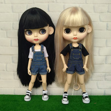 8 Colors Blyth Doll Outfits T-shirts Overall Bib Pants Clothes for Neoblythe Azone Licca 1/6 Doll(China)