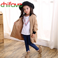 chifave New Autumn Boys and Girls Coat Children Kids Clothing Unisex Girls and Boys Long Sleeve Khaki Color Outwear Trench Coat