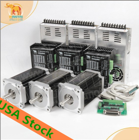 Free Ship From US! 3 Axis Wantmotor Nema34 stepper Motor 85BYGH450C-012B Dual Shaft 1600oz+Driver DQ860MA 7.8A 80V 256Micro high quality 4pcs wantmotor nema34 stepper motor 85bygh450c 012 single shaft 1600oz 3 5a ce rohs iso us uk ca jp de fr it free