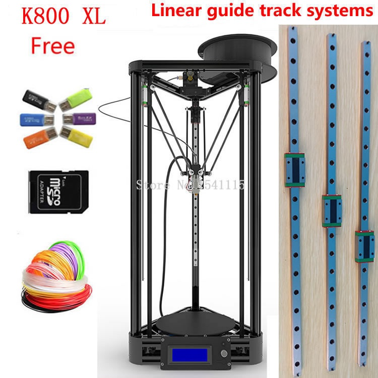 Big size 270*370mm  linear guide LCD Display Reprap Delta Rostock balck or gold k800xl DIY Kit kossel 3D Printer kit