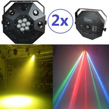 2xLot Sale 2015 Led Dancing Floor Light 8x3W white CREE led + 7x10W 4in1 RGBW Moving Head Stage Party Lights DJ Laser Projector(China)