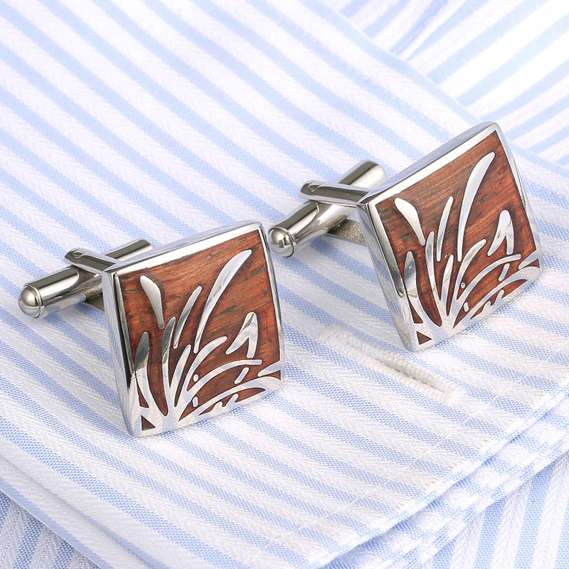 VAGULA Hot Sale Rosewood Cufflinks AAA Quality Men Shirt Stainless Steel red wood Cuff links Luxury Cufflings 359