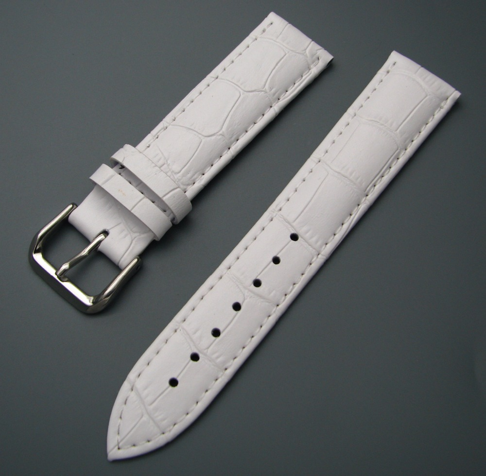 12 14 16 18 20 22 24mm Men Women Genuine Cowhide Leather White Classic Alligator Grain Watch Band Strap Belt Silver Pin Buckle 2016 top women lady genuine leather women s watchband popular white silver pin clasp 12 14 16 18 19 20 22 24mm watch band strap