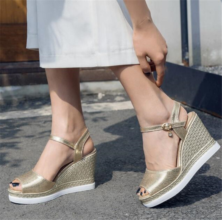 PXELENA Fashion 2019 Summer Women Sandals Platform Wedge High Heels Ankle Strap Ladies Shoes Party Office Gold Silver Plus Size high heels