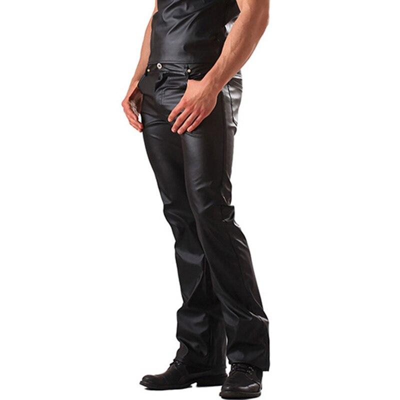 New Plus Size Wetlook Faux Leather Pants Men Metallic Zipper Leather Pants Trousers Pole Dance Black Skinny Club Style Pants