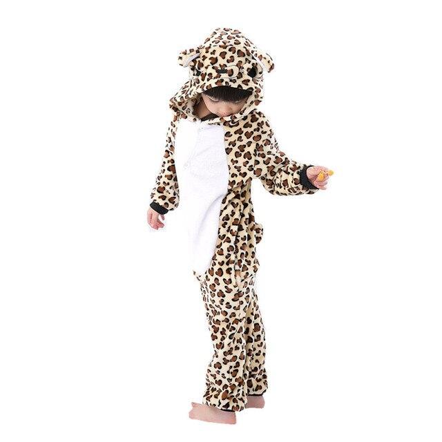 Дети мультфильм Kigurumi Leopard медведь детская Комбинезоны пижамы Косплэй костюм  Костюмы для Хэллоуина Карнавал Новый Год df3efb2cc32c4