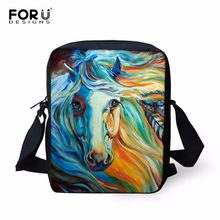FORUDESIGNS Cool Animal Book Bags para niños caballo Casual bolsos de hombro Mini bolsas de escuela Kindergarten Mochila Escolar(China)
