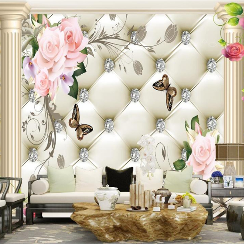 3D Flowers Wallpapers Murals Diamond Photo Wallpapers for Living Room Background Walls Papers Home Decor Rose Wall Murals Nature beibehang modern luxury circle design wallpaper 3d stereoscopic mural wallpapers non woven home decor wallpapers flocking wa