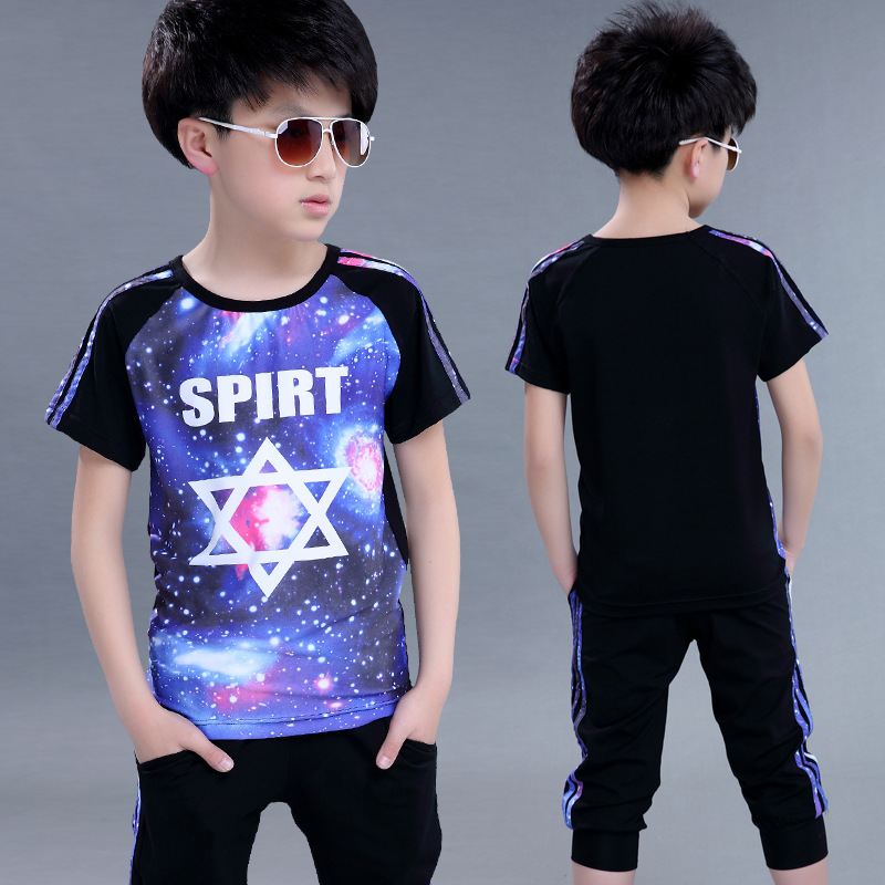 Teenage Clothing Sets For Boys Outfits Short Sleeve Sports Suits Boys Tracksuits Summer Kids Sportswear 6 7 9 11 12 13 14 Years