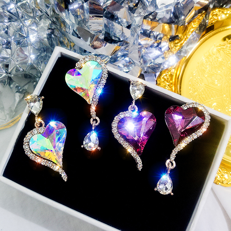 2019 New Arrival Crystal Trendy Water Drop Women Dangle Earrings Love Woman Korean Fashion Jewelry Net Red Hot Gift