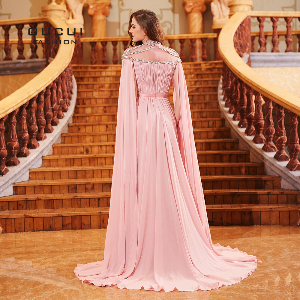 7f8be7c2d4feb Saudi Arabia Long Evening Dress Robe De Soiree with Cape Chiffon Muslim  Prom Dresses Crystal High Neck Formal 2019 OL103131-in Evening Dresses from  ...