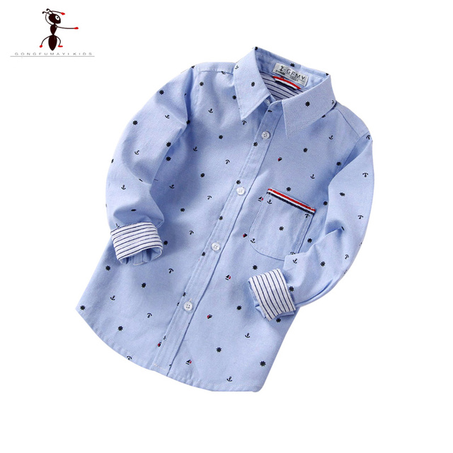 Spring Autumn Polka Dot Boys Shirts Cotton Casual Kung Fu Ant Blouses for Children 4 Colors Camisas Para Hombre  1510