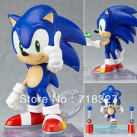HOT Cute Funny GSC Blue Sonic the Hedgehog Cute Vivid Nendoroid Series PVC Figure Toy Hand to do Toy Box Free Shipping