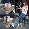 JARLIF женская Мода Shell Глава Лианы Обувь Дышащий на шнуровке Женские Плоские Туфли На Платформе Высота Увеличение Холст Обувь