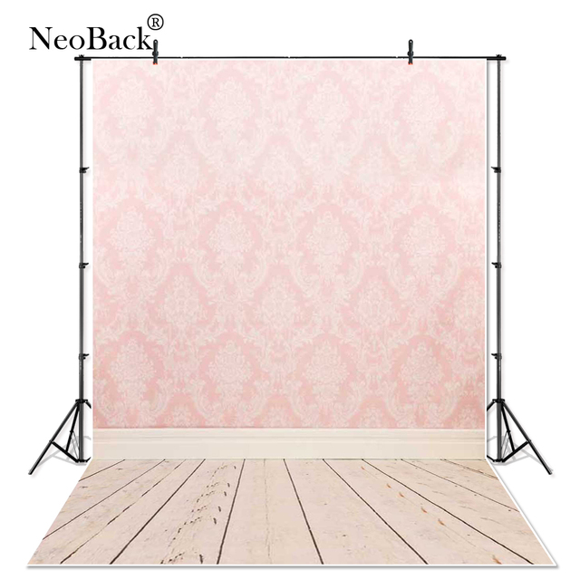 Pink Damask Wall Wood Floor Photo backgrounds New Born Baby Children photo Damask Painted Photo studio Photo Backdrops P0012