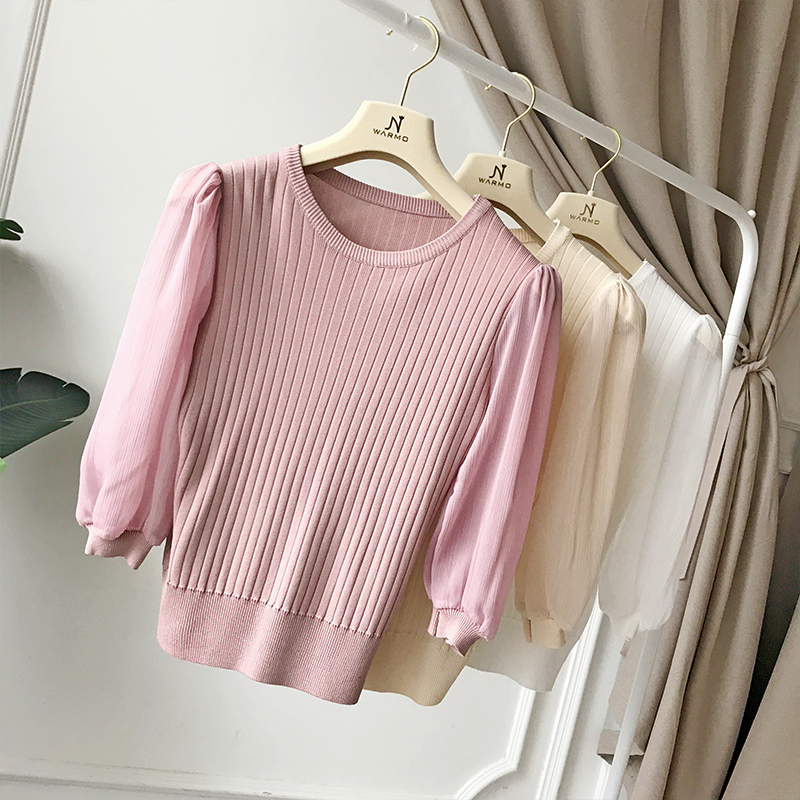 7 Gauze Round Chart Han Collar Thin Chart Blouse White Show Female Hedge Of Chic Lantern See Knit Joker Minutes Sleeve Edition see qcYt4S
