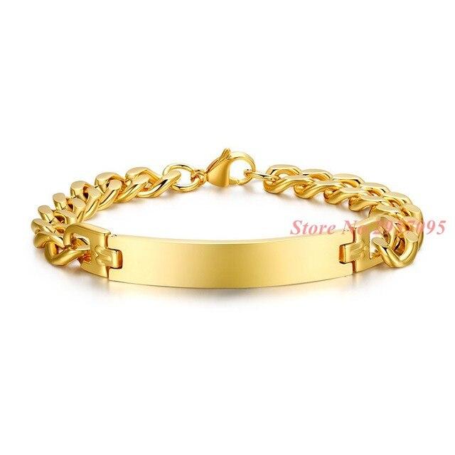 e65a9f76352f Dorado pulsera par pareja amante carta encanto lujo mujeres hombres joyería  Acero inoxidable Brazaletes regalos de