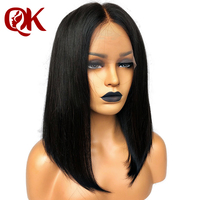 QueenKing hair Lace Front Human hair Wig 180% Density Bob Wig Natural Brazilian Straight Preplucked Bleached Knots Middle Part