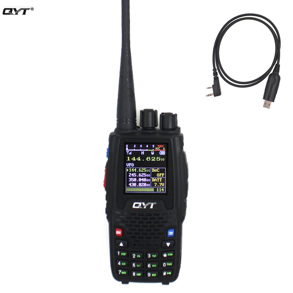 QYT Quad Band Handheld Two Way Radio KT-8R 4band Outdoor Intercom KT 8R UV 2 Way Radios KT8R Color Display 5W Transceiver
