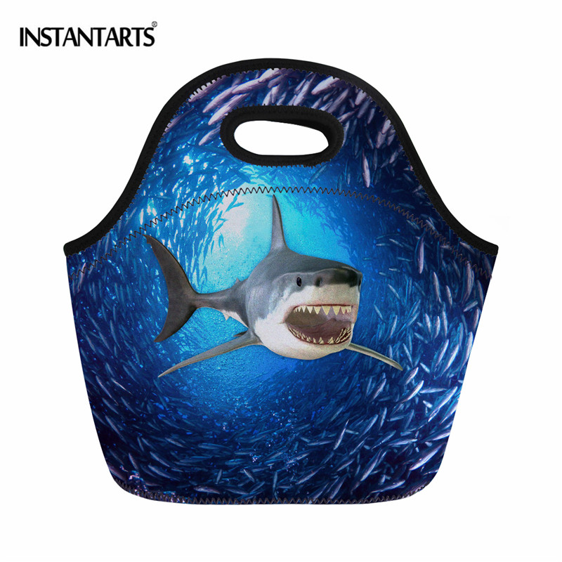 INSTANTARTS Animal Fish Shark Print Lunch Bag Insulated Thermal Waterproof Lunchbag for Kid Adult Fashion Picnic Food Tote Bags