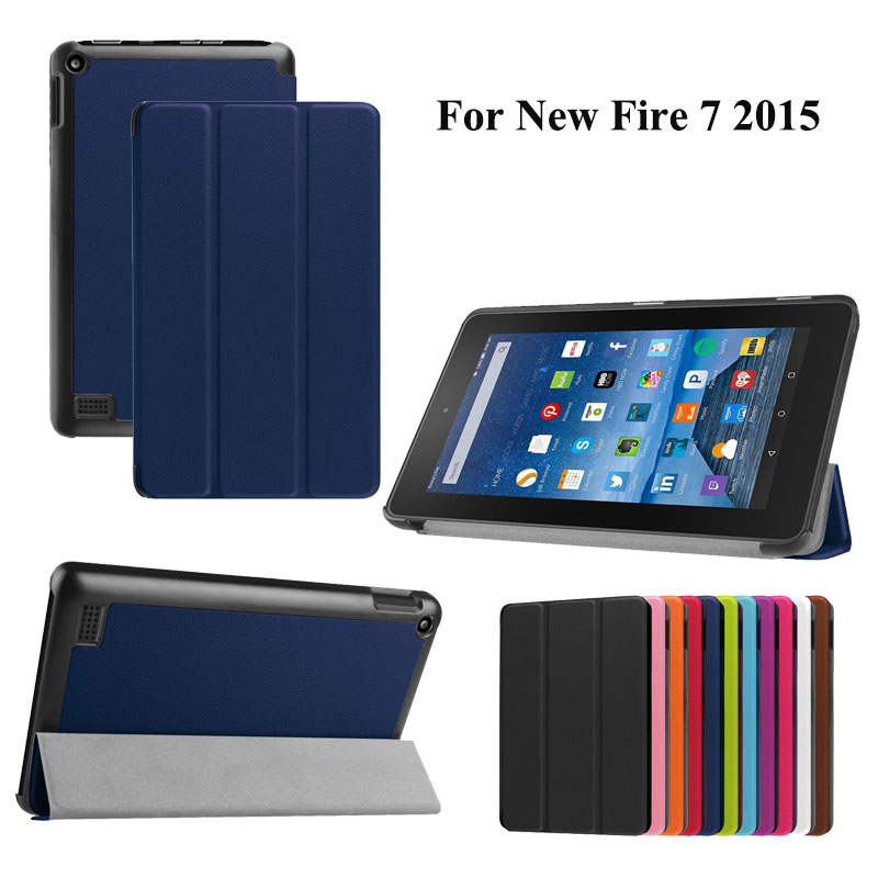 New 3 Folding PU Leather Case Stand Cover Protective Skin Shell Cover For Amazon Kindle Fire 7.0 inch (2015 Edition) #S0073