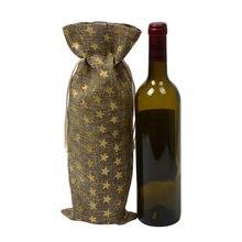 100 шт рождественский подарок чехлы для вина горячее тиснение