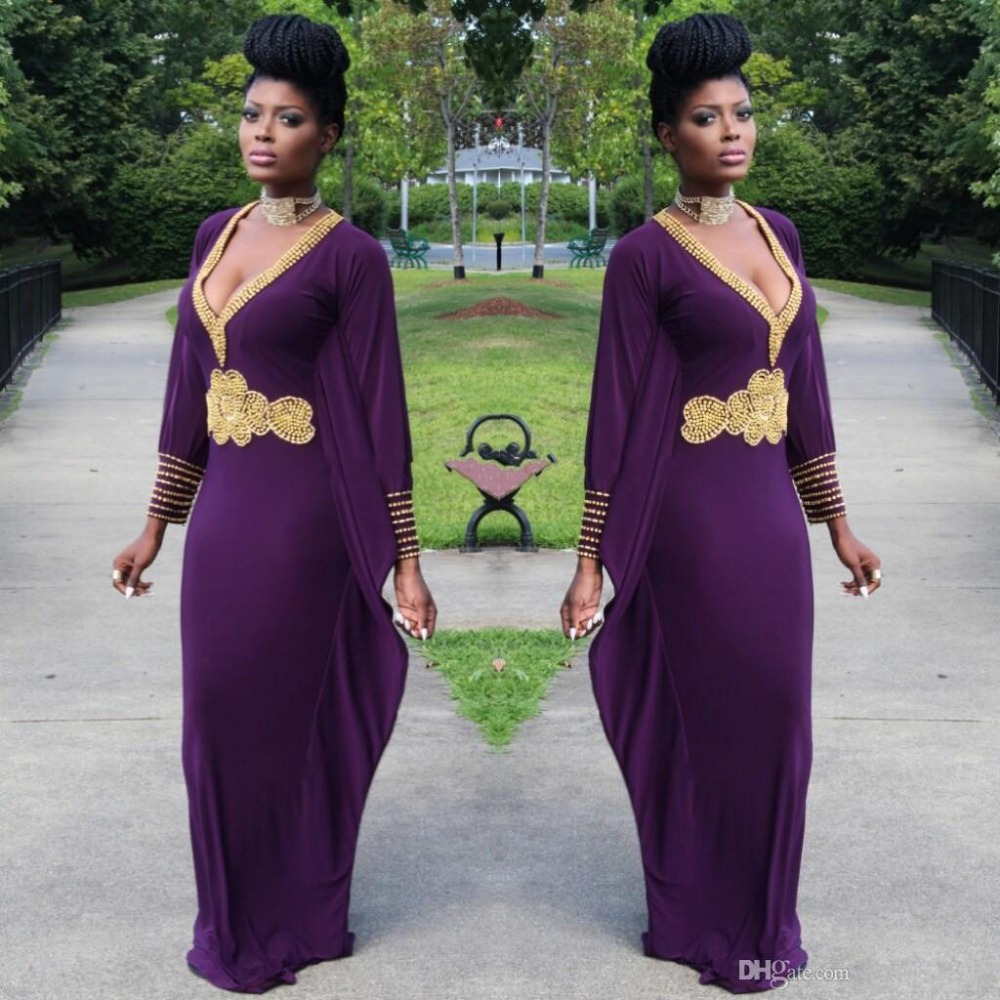 Aliexpress Robe De Soiree 2017 Dark Purple Evening Gowns With Long Sleeves Gold Beaded Chiffon V Neck Dubai Kaftan Las Formal Dresses From