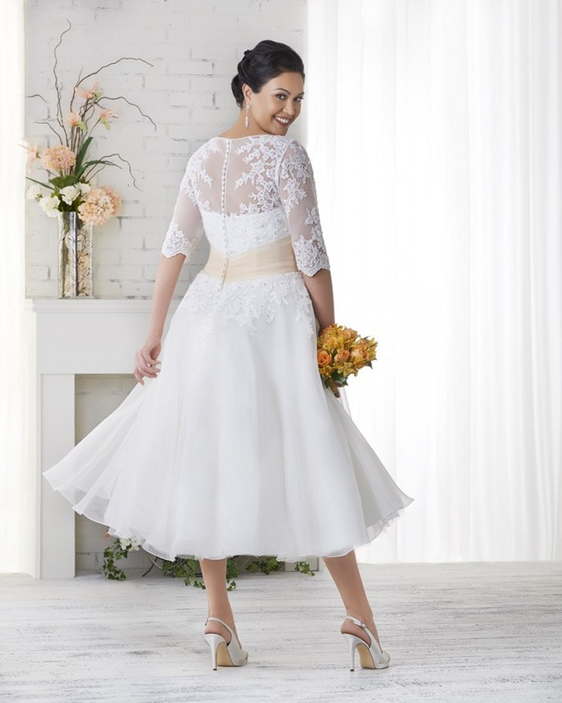 Tea Length Plus Size Cheap Wedding Dress With Half Sleeves Appliques Lace  Women Bridal Gown Women Plus Size Wedding Dresses