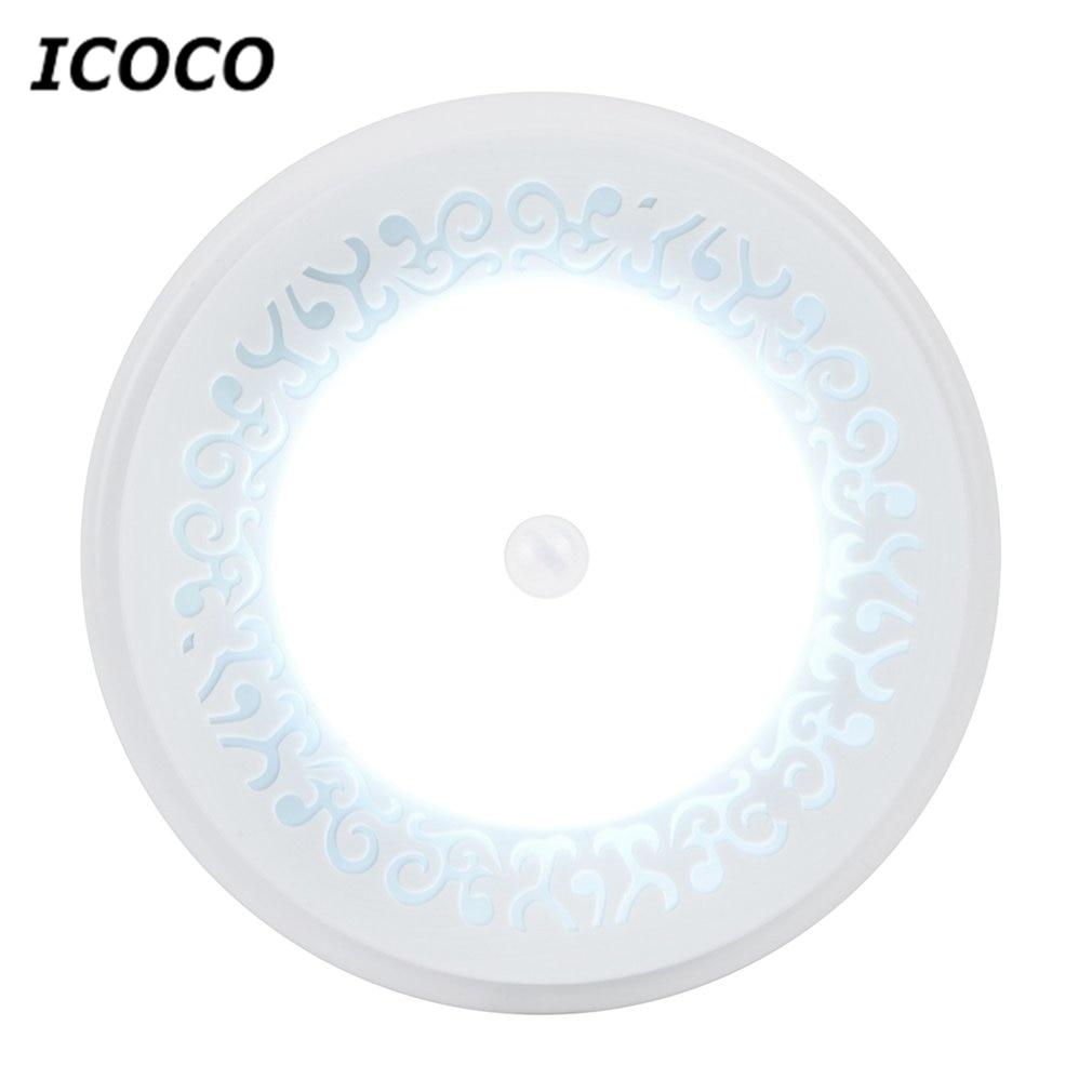 ICOCO Stylish LED Night Light Round Sensor Lights Battery Powered Motion Induction Light Energy Saving Emergency Lamp Drop Ship