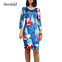 STERNBILD Brand Christmas Tree Print Dresses For Women Winter Floral Print O Neck Bodycon Dress Vintage