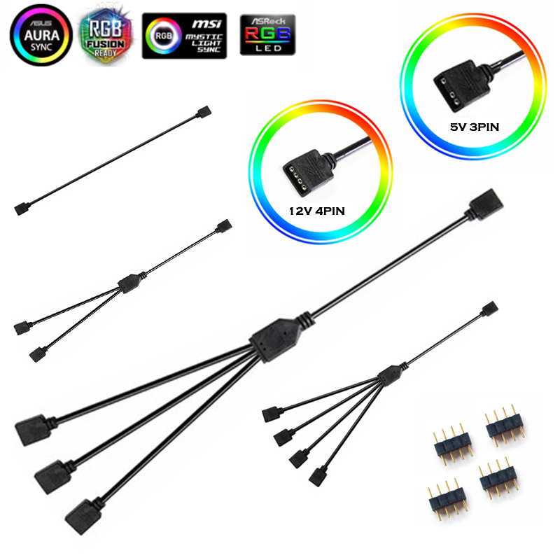 Extension Cable For Motherboard Interface 5V3PIN/12V4PIN AURA RGB 1-2/3/4 Interface Splitter Addressable D-RGB SYNC Hub JST-3Pin