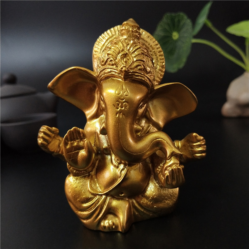 Lord Ganesha Buddha Statue Indian Elephant God Sculptures Gold Ganesh Figurines Ornaments Home Garden Buddha Decoration Statues