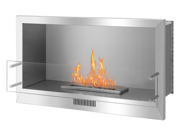 Real Fire Stainless Steel  Ethanol Built In Wall Fireplace