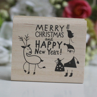 Handmade Merry Christmas Happy New Year 6 7cm Wooden Rubber Stamps For Scrapbooking Carimbo Timbri Christmas