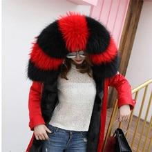 Зима натуральный мех енота воротник и женские шарфы модное пальто свитер шарфы большого размера шапка 75 см