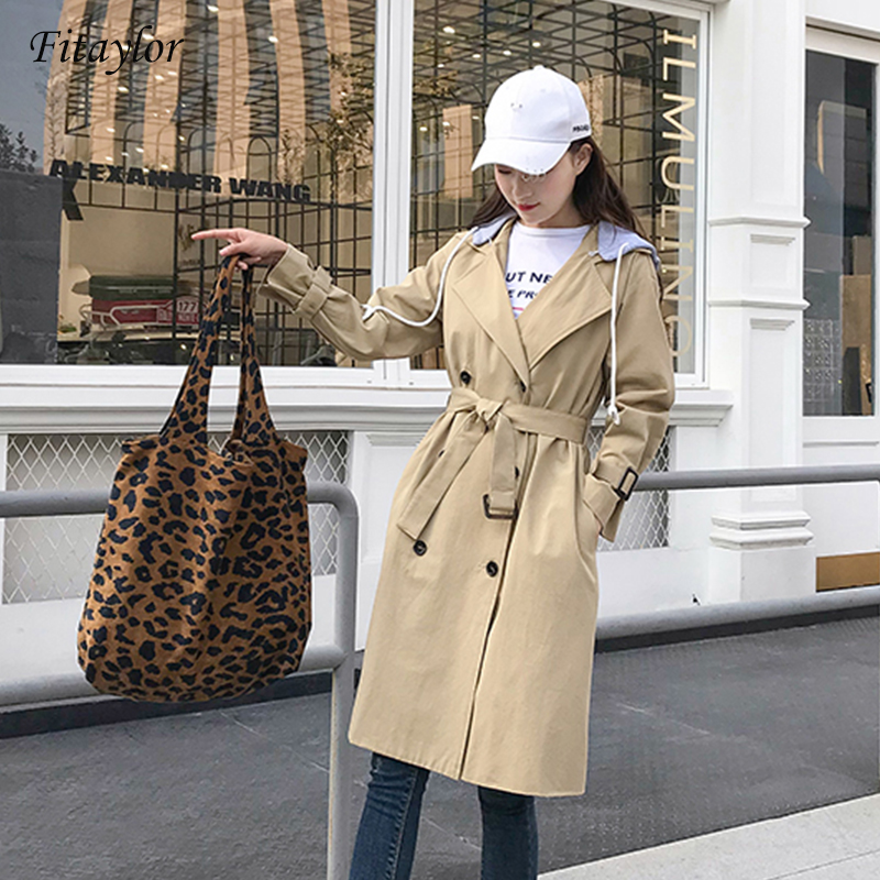 Fitaylor Autumn New High Fashion Brand Woman Classic Double Breasted   Trench   Coat Waterproof Raincoat Remove the hat Outerwear