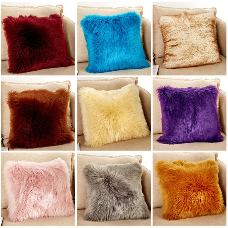 Toys & Hobbies 40*40cm 8 Colors Wool Mats Cushion Plush Pillows Woollen Cushions For Sofa Throw Pillow Car Home Decor Fur Pillow For Chair