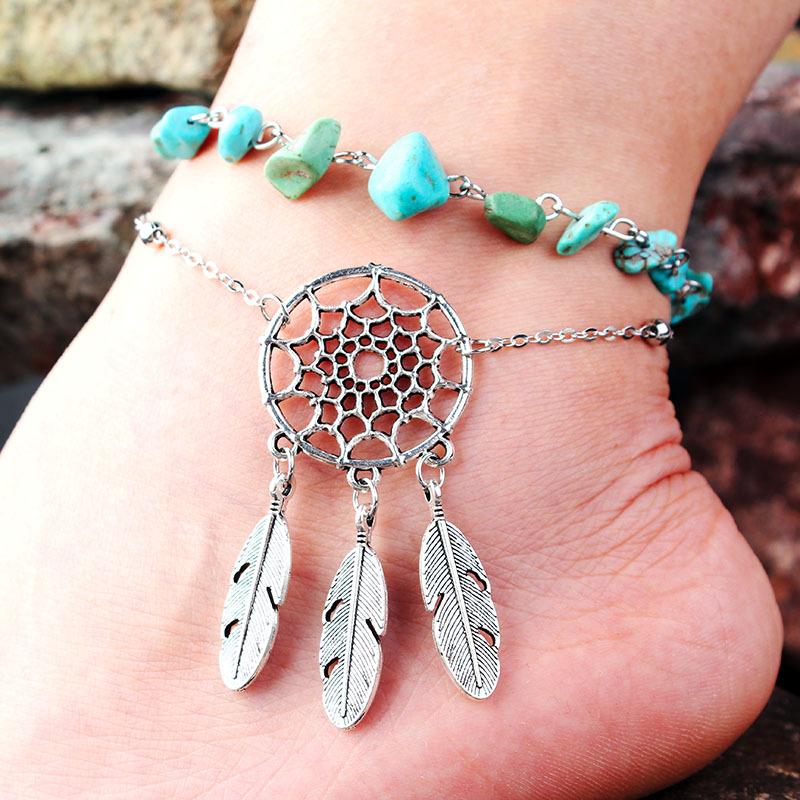 0d6493dd206 Covit feet fashion ankle bracelet irregular natural peacock stone hollow  dream catcher feather feet anklet for women gift-in Anklets from Jewelry ...