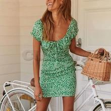 Cuerly chic green print dress women 2019 summer casual bow day streetwear mini  L5