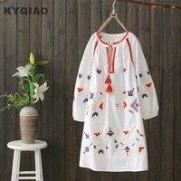 Ethnic Dress 2018 Plus Size Women Clothing Female Summer Spring Japanese Style Bohemian O Neck White