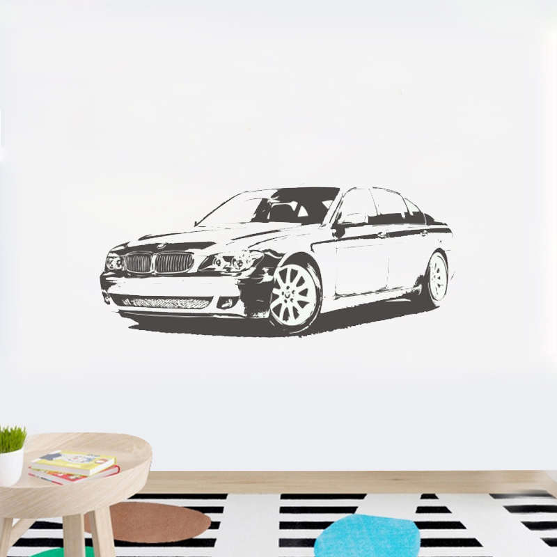 BMW Car Vinyl Removed Wall Art Sticker Decal Creative mural for Boys Bedroom Home Decor Wall Decoration