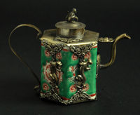 Collection Tibetan Silver Green Porcelain Inlay Leopard Monkey Lid Teapot Garden Decoration 100 Real Tibetan Silver
